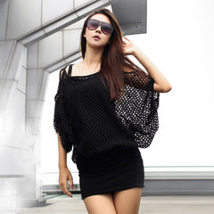 Two Pieces Batwing Mini Dress with Hollow Out Cover - O Yours Fashion - 5