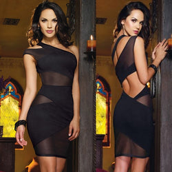 One Shoulder Cut Out Mesh Mini Dress - O Yours Fashion - 1