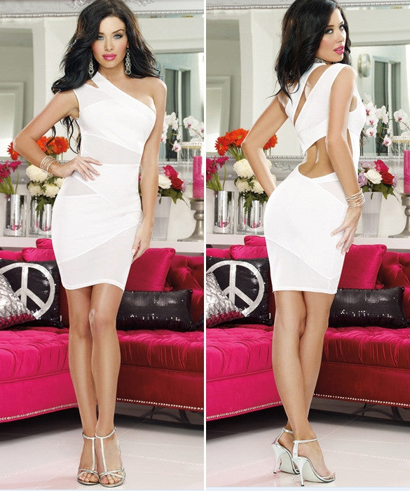 One Shoulder Cut Out Mesh Mini Dress - O Yours Fashion - 3