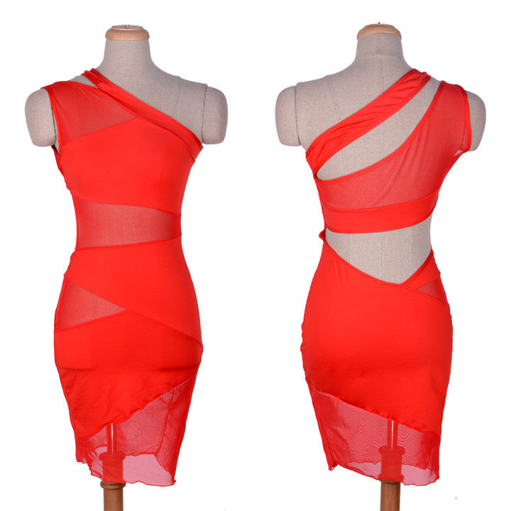 One Shoulder Cut Out Mesh Mini Dress - O Yours Fashion - 6
