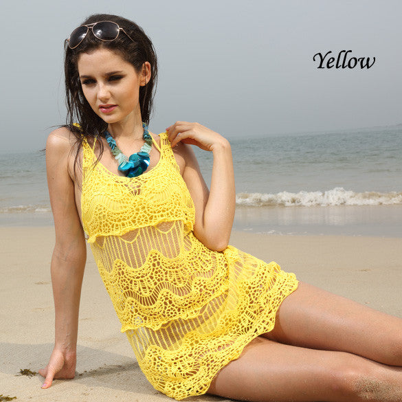 Collar Flower Hollow Beach Bikini Cover Up Dress - O Yours Fashion - 1