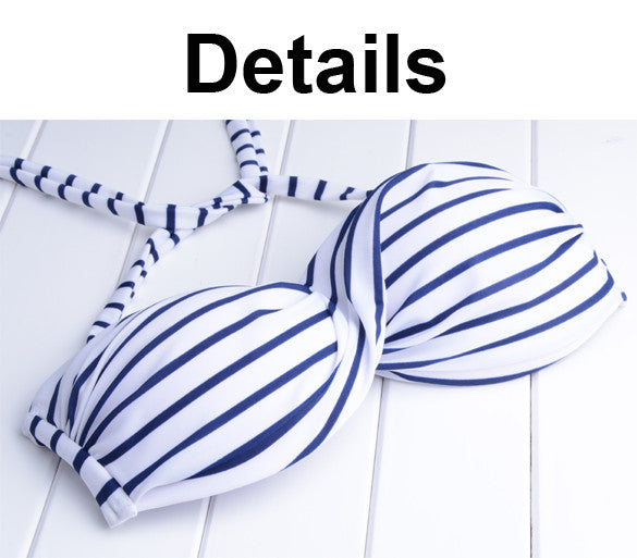 2016 Stripes High Waist Padded Bandeau Bikini set Swimwear - Oh Yours Fashion - 4