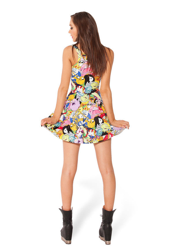 Cartoon Adventure Printed Reversible Short Dress - O Yours Fashion - 4
