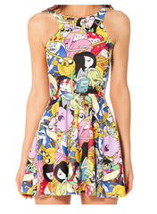 Cartoon Adventure Printed Reversible Short Dress - O Yours Fashion - 3