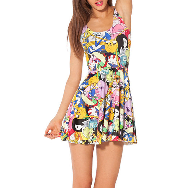 Cartoon Adventure Printed Reversible Short Dress - O Yours Fashion - 1