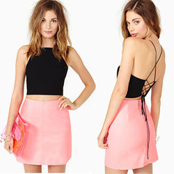 Chiffon Chest Cover Hollow Back Halter Tie Tops - O Yours Fashion - 1