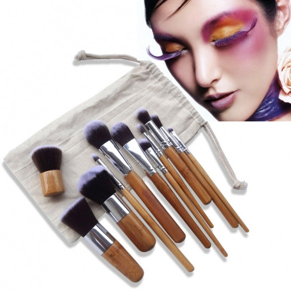 New 11Pcs Wooden Handle Smooth Makeup Face Foundation Eyeshadow Cosmetic Brush Set - Oh Yours Fashion
