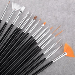 15pcs Professional Nail Art Brush Set Design Painting Pen - Oh Yours Fashion - 2