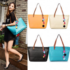 Women's Fashion Leather Cute Shoulder Bag Shopper Tote Bag Handbag - Oh Yours Fashion - 5