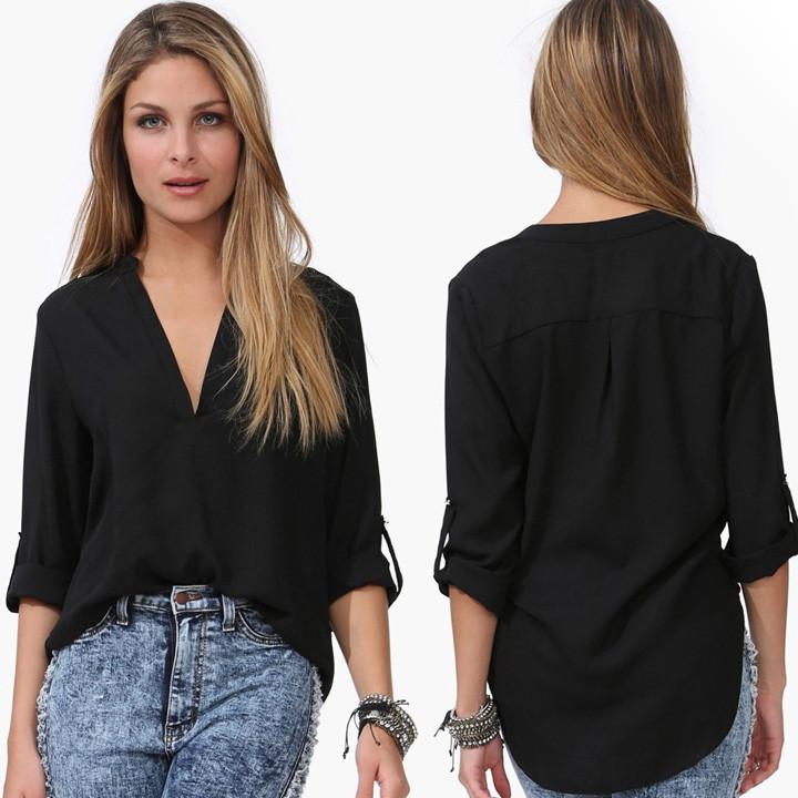 Spring Summer Long Sleeve Chiffon V-neck Blouse - MeetYoursFashion - 3