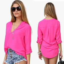 Spring Summer Long Sleeve Chiffon V-neck Blouse - MeetYoursFashion - 1