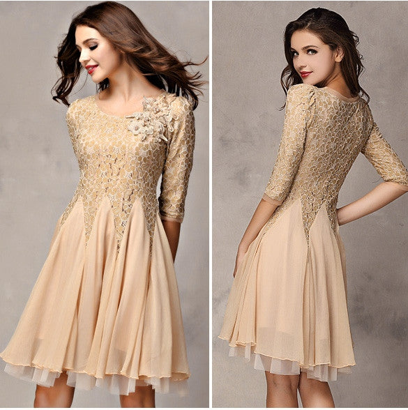 Lace Chiffon 3/4 Sleeves Knee-length Dress - O Yours Fashion - 4