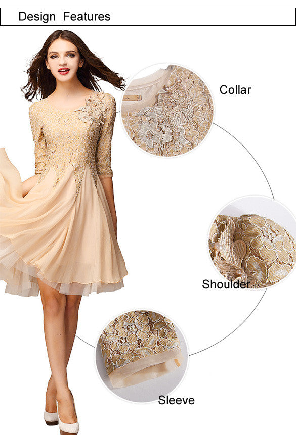 Lace Chiffon 3/4 Sleeves Knee-length Dress - O Yours Fashion - 6