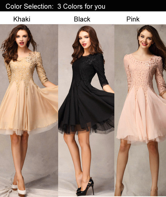 Lace Chiffon 3/4 Sleeves Knee-length Dress - O Yours Fashion - 2
