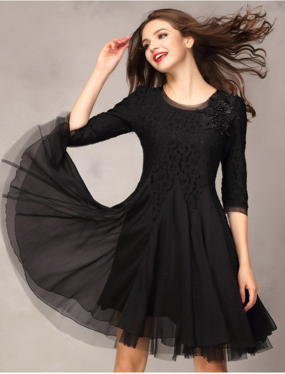 Lace Chiffon 3/4 Sleeves Knee-length Dress - O Yours Fashion - 9