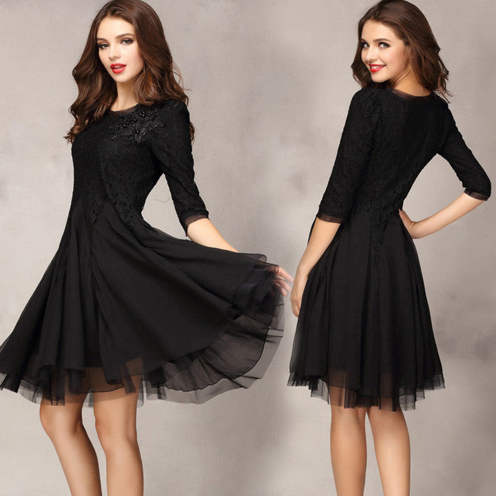 Lace Chiffon 3/4 Sleeves Knee-length Dress - O Yours Fashion - 7