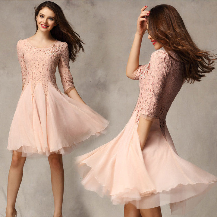 Lace Chiffon 3/4 Sleeves Knee-length Dress - O Yours Fashion - 3