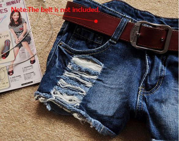 Retro Low Waist Tassel Hole Lace Jeans Denim Shorts - MeetYoursFashion - 5