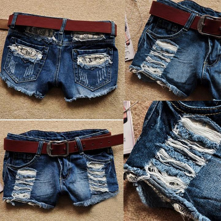 Retro Low Waist Tassel Hole Lace Jeans Denim Shorts - MeetYoursFashion - 1