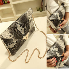 Women Vintage Vogue Snake Skin Envelope Bag Day Clutches Purse Evening Bag - Oh Yours Fashion - 1