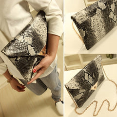 Women Vintage Vogue Snake Skin Envelope Bag Day Clutches Purse Evening Bag - Oh Yours Fashion - 2