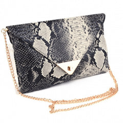 Women Vintage Vogue Snake Skin Envelope Bag Day Clutches Purse Evening Bag - Oh Yours Fashion - 3
