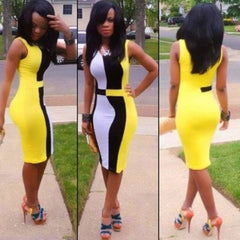 Celebrity Patchwork Women's Slim Bodycon Fitted Dress - O Yours Fashion - 1