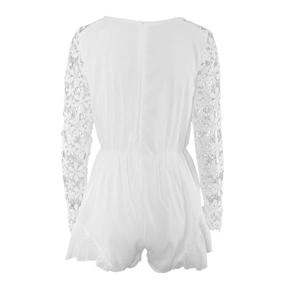 V-neck Long Sleeves Lace Chiffon Short Jumpsuits - MeetYoursFashion - 5