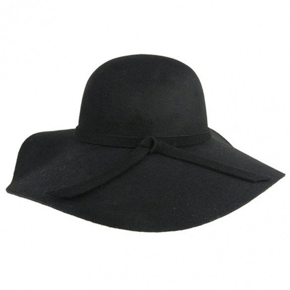 3ecb3edff8acc New Fashion Vintage Black Wide Brim Wool Felt Bowler Fedora Hat Floppy  Cloche - Oh Yours