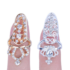 Fashion Bowknot Crystal Finger Nail Art Ring Jewelry Fake Nail Art Finger Rings - Oh Yours Fashion - 2