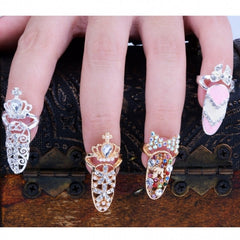 Fashion Bowknot Crystal Finger Nail Art Ring Jewelry Fake Nail Art Finger Rings - Oh Yours Fashion - 1