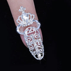 Fashion Bowknot Crystal Finger Nail Art Ring Jewelry Fake Nail Art Finger Rings - Oh Yours Fashion - 4