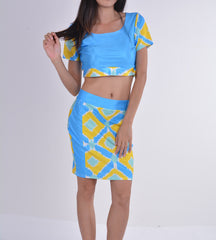 Two Pieces Club Bandage Crop Top and Skirt Dress Set - Oh Yours Fashion - 3