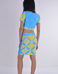 Two Pieces Club Bandage Crop Top and Skirt Dress Set - Oh Yours Fashion - 4