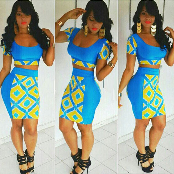 Two Pieces Club Bandage Crop Top and Skirt Dress Set - Oh Yours Fashion - 1