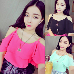 Hollow Shoulder Chiffon Batwing Sleeve Blouse - O Yours Fashion - 1