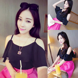 Hollow Shoulder Chiffon Batwing Sleeve Blouse - O Yours Fashion - 2
