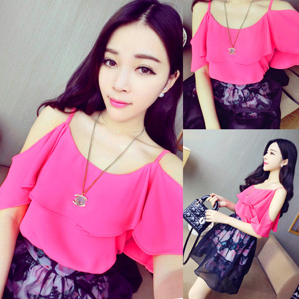 Hollow Shoulder Chiffon Batwing Sleeve Blouse - O Yours Fashion - 4