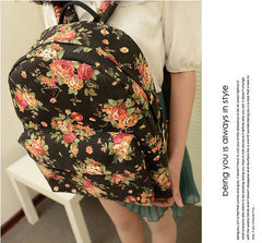 Canvas Flower Rucksack School Backpack Bag - Oh Yours Fashion - 2