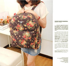 Canvas Flower Rucksack School Backpack Bag - Oh Yours Fashion - 3