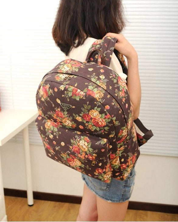Canvas Flower Rucksack School Backpack Bag - Oh Yours Fashion - 6