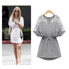 Crew Neck Floral Mini Lace Dress - O Yours Fashion - 2
