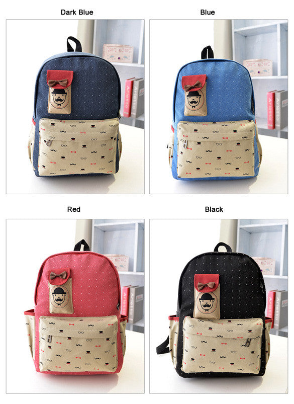 Canvas Travel Shoulder School Backpack Bag - O Yours Fashion - 5