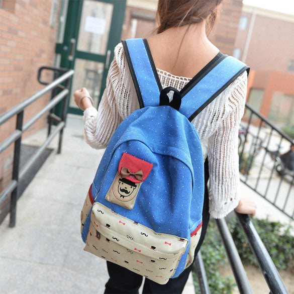 Canvas Travel Shoulder School Backpack Bag - O Yours Fashion - 1