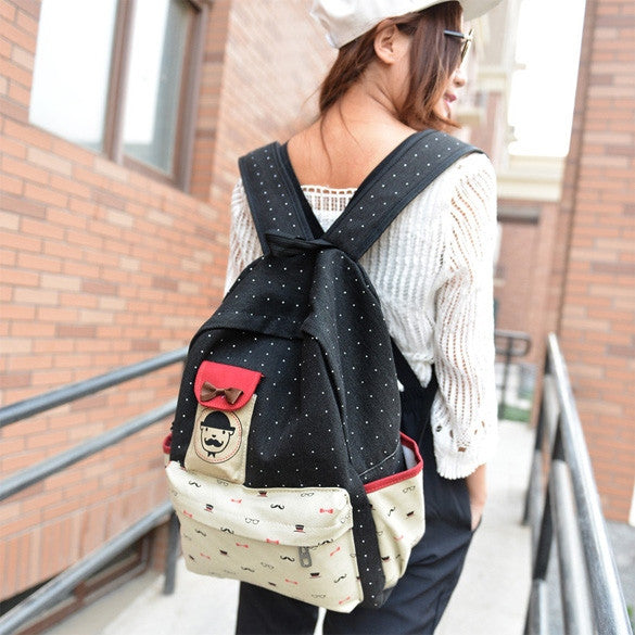 Canvas Travel Shoulder School Backpack Bag - O Yours Fashion - 7