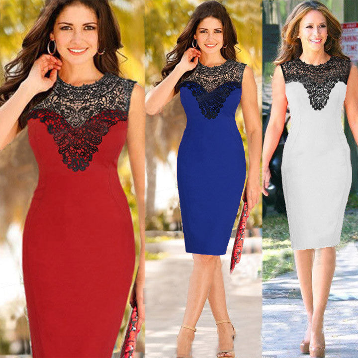 Celeb Lace Sleeveless Bodycon Knee-length Dress - O Yours Fashion - 1