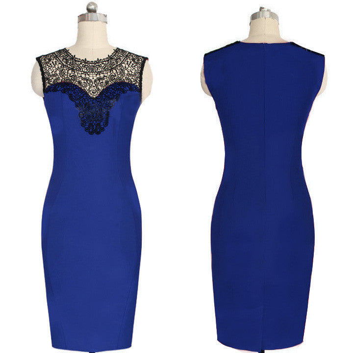 Celeb Lace Sleeveless Bodycon Knee-length Dress - O Yours Fashion - 3