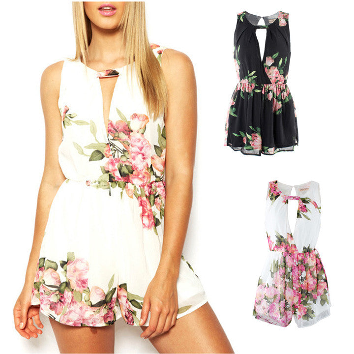 Floral Chiffon Jumpsuit Open Back Overall Jumpsuit - O Yours Fashion - 2