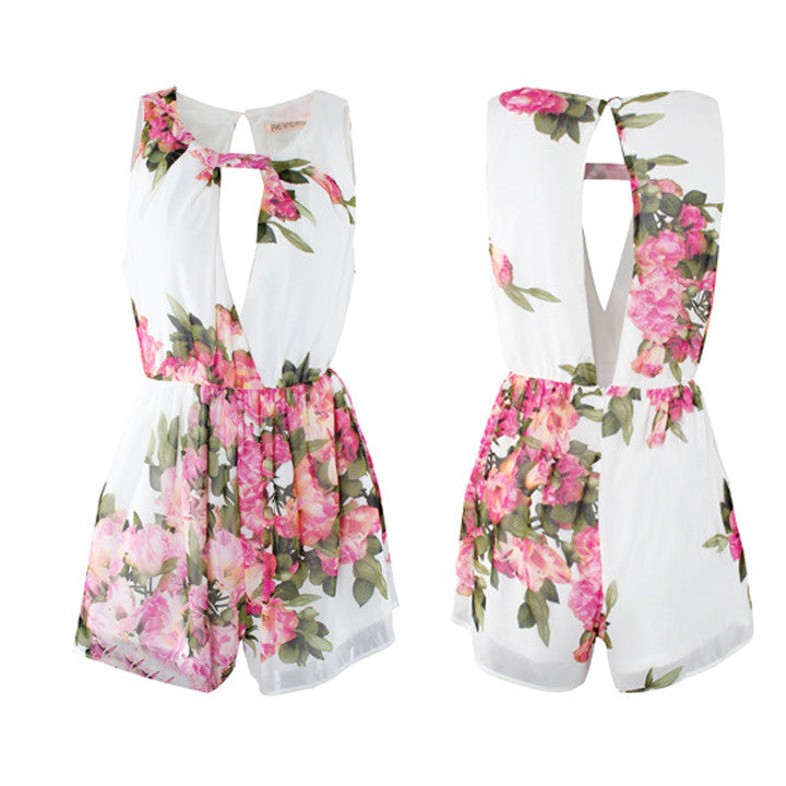 Floral Chiffon Jumpsuit Open Back Overall Jumpsuit - O Yours Fashion - 5