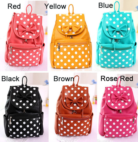 Polka Dots Bowknot Girls School Backpack - Oh Yours Fashion - 2